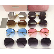 Reflective Rimless Sunglasses for Female